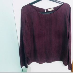 Aritzia Wilfred Free Wine Blouse Slit Back Top M